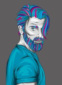 Homem com penteado da moda