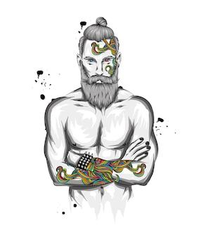 Homem com penteado elegante e tatuagem.