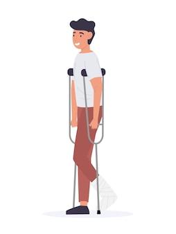 Homem com perna quebrada de muletas
