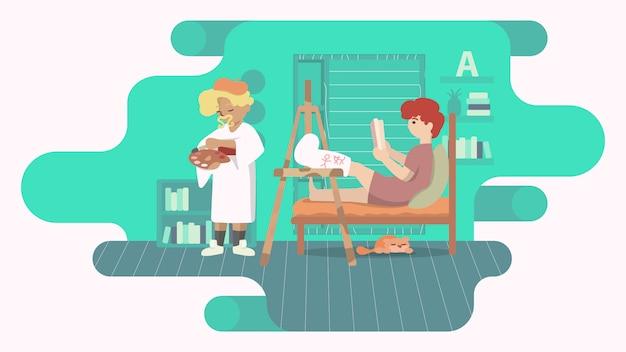 Homem com perna quebrada em um elenco. cuidado do amigo em um interior moderno. ilustração do conceito de pessoas com deficiência.