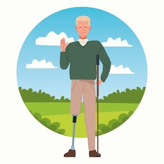 Homem com personagem de prótese de perna