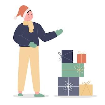 Homem com presente de natal