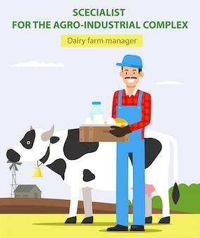Homem com produtos lácteos perto da vaca. fazendeiro de sorriso.