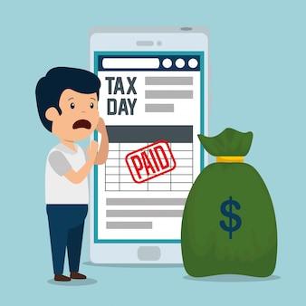 Homem com relatório de imposto sobre serviços e dinheiro