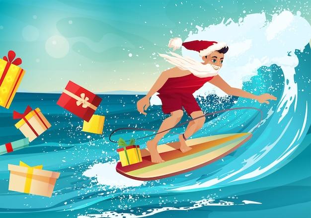 Homem com roupas de papai noel surfando na onda em um oceano tropical. caixas de presente estão voando