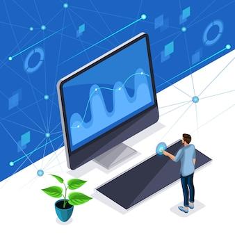 Homem com roupas elegantes gerencia uma tela virtual, um painel de plasma, um homem elegante usa tecnologia de alta tecnologia