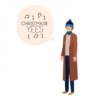 Homem, com, roupas inverno, e, bolha fala