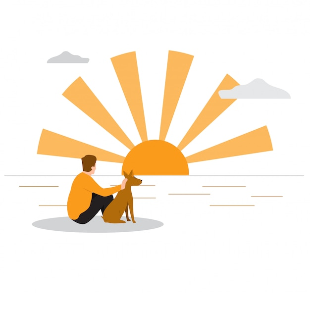 Homem com seu cachorro na praia por do sol.