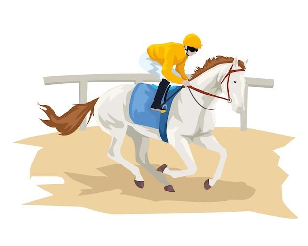 Homem com seu cavalo na pista de corrida