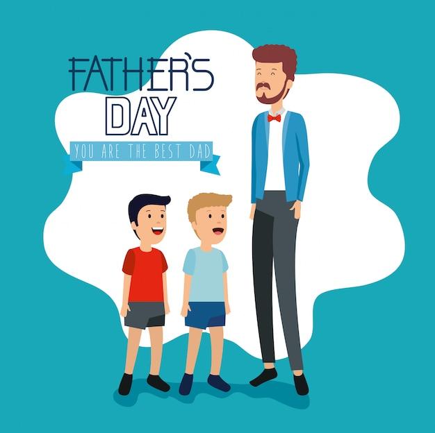 Homem com seus filhos para a celebração do dia dos pais