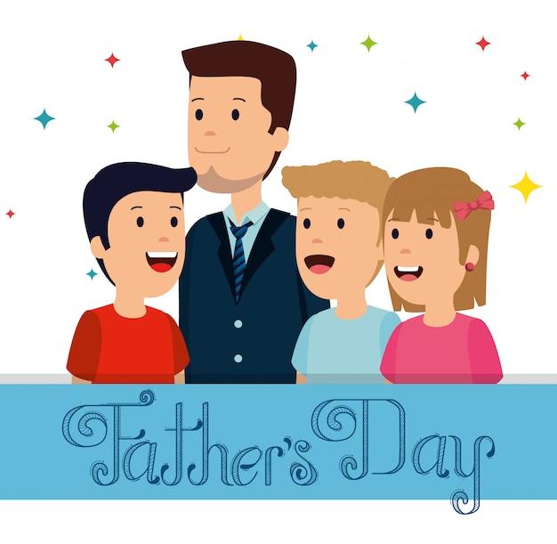 Homem com seus meninos e meninas para o dia dos pais