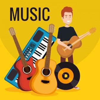 Homem com sintetizador musical e instrumentos