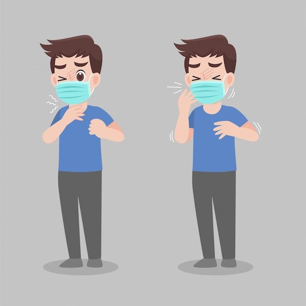 Homem com sintomas de diferentes doenças - febre, tosse, ranho.