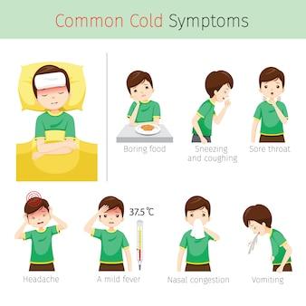 Homem com sintomas de resfriado comum