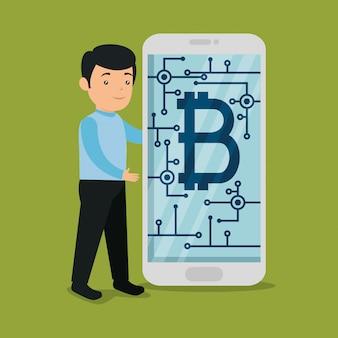 Homem com smartphone com moeda virtual bitcoin