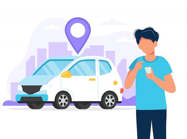 Homem com smartphone com um aplicativo para encontrar uma localização de carro. serviço de aluguel de carros via aplicativo móvel