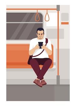 Homem com smartphone em ilustração vetorial plana de trem. masculino segurando o telefone no transporte público. pessoa senta-se no trânsito na zona wi-fi. personagens de desenhos animados 2d de passageiros do metro para uso comercial