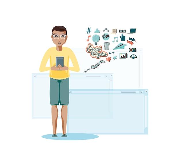 Homem, com, smartphone, social, mídia, ícones