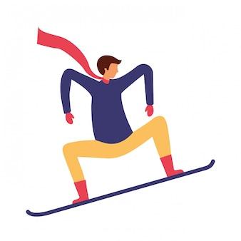 Homem, com, snowboard, em, a, inverno, estação