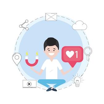 Homem, com, social, mídia, rede, mensagem
