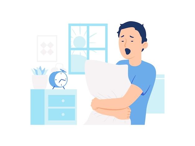 Homem com sono a acordar na ilustração do conceito de manhã
