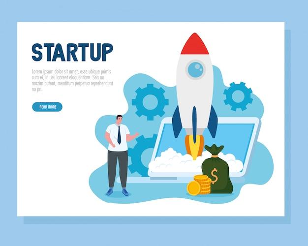 Homem com start-up foguete no laptop e dinheiro saco vector design