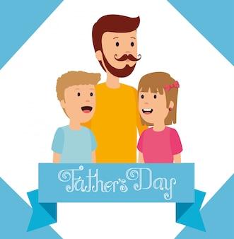 Homem com sua menina e menino para o dia dos pais