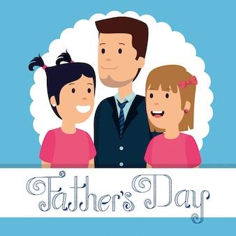 Homem com suas filhas para comemoração do dia dos pais