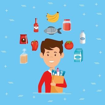 Homem com supermercado mantimentos na sacola de compras