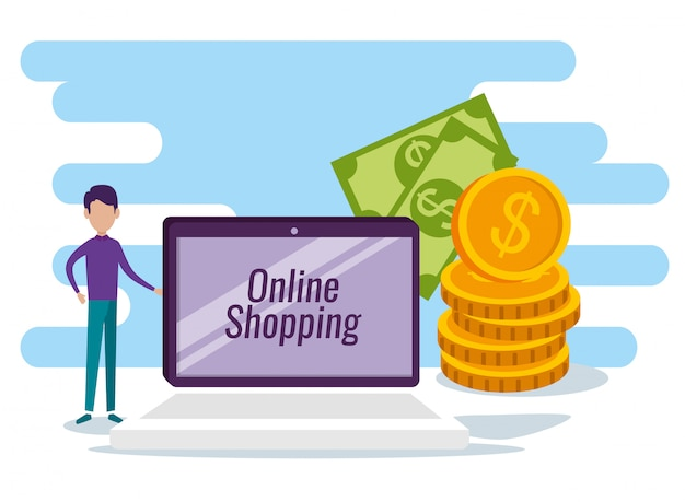 Homem com tecnologia de comércio eletrônico de mesa e venda on-line