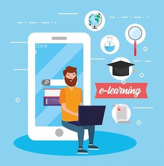 Homem com tecnologia de laptop e smartphone para educação
