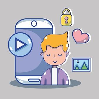 Homem com tecnologia de mídia social para comunicação