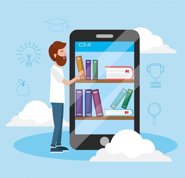 Homem com tecnologia de smartphone e conhecimento de livros