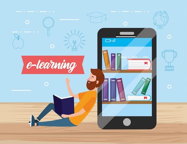 Homem com tecnologia de smartphone e livros digitais