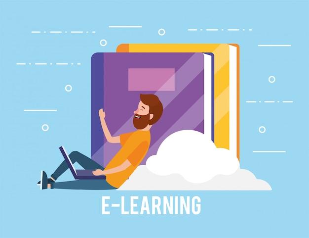 Homem com tecnologia portátil e educação de livros