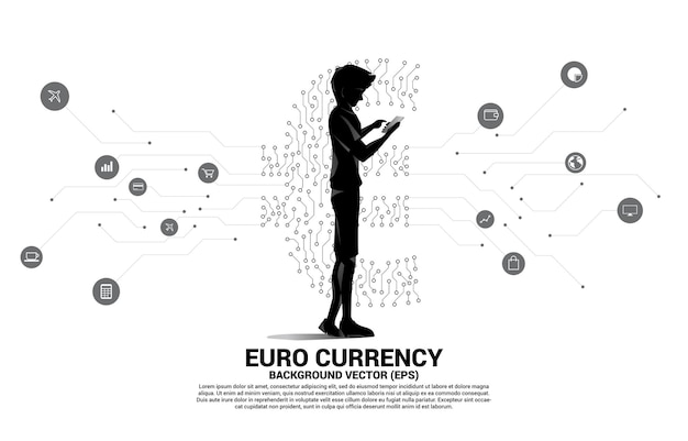 Homem com telefone celular e ícone de dinheiro da moeda euro