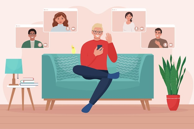 Homem com telefone faz videoconferência com amigos ou colegas sentados no sofá. trabalhe a partir do conceito de casa. ilustração em estilo simples