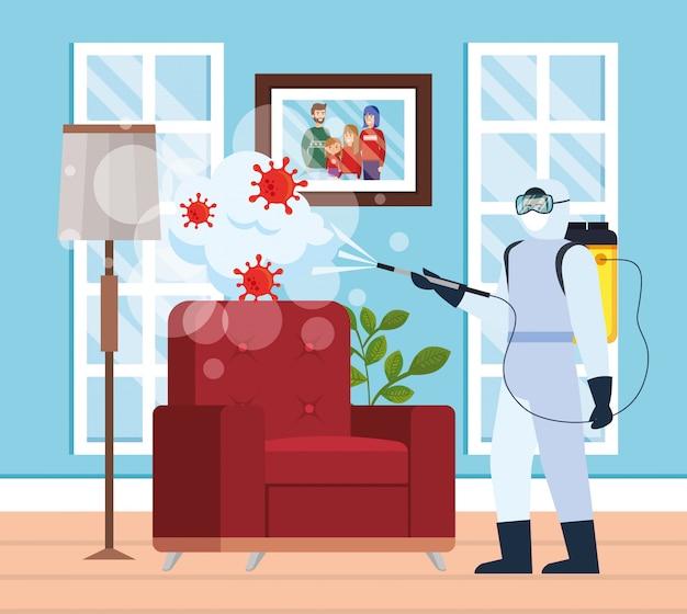 Homem com traje de proteção pulverização em casa com
