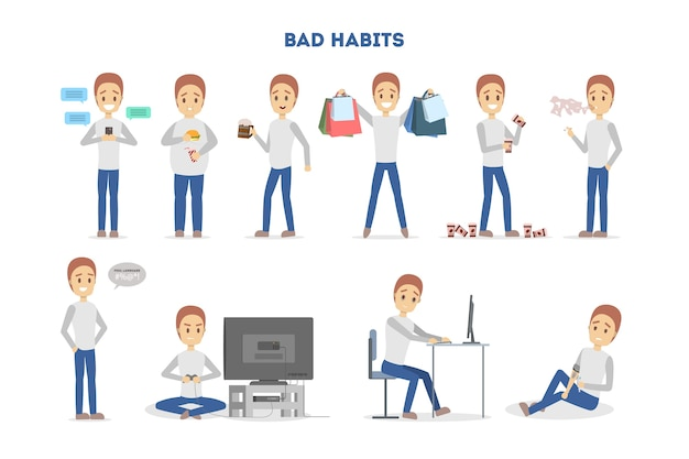 Homem com um conjunto de maus hábitos. vício em álcool e café, comer junk food e jogar. estilo de vida pouco saudável e perigo para a vida. ilustração em vetor plana