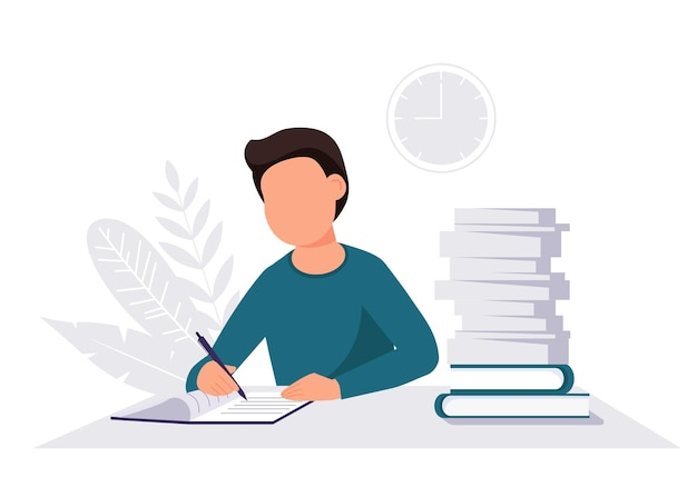 Homem com um estudo de livro de exercícios ou conceito de trabalho