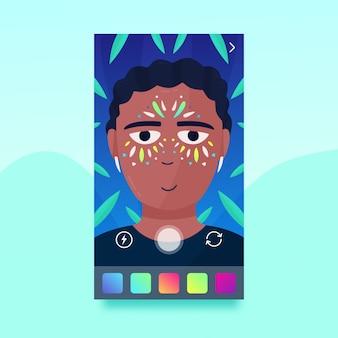 Homem com um filtro de maquiagem para mídias sociais