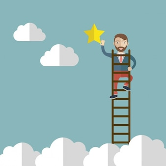 Homem com um fundo escada