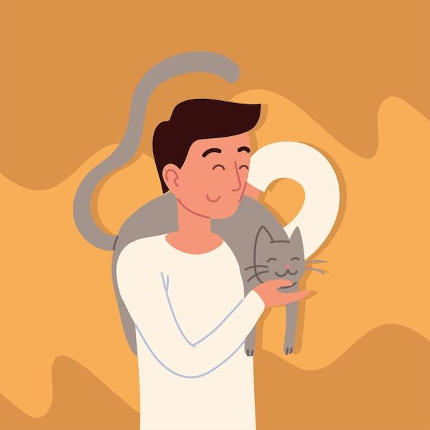 Homem com um gato cinza