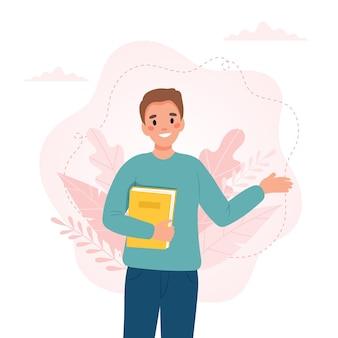 Homem com um livro. dia do professor, conceito do dia de alfabetização. ilustração em vetor fofa em estilo cartoon plana