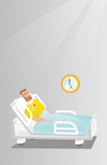 Homem com uma ilustração do vetor de ferimento do pescoço.