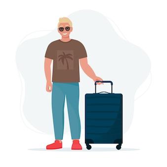Homem com uma mala. férias, ilustração do conceito na hora de viajar em estilo simples