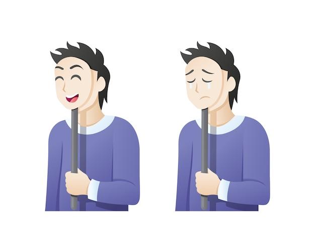 Homem com uma máscara de expressão