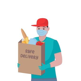 Homem com uma sacola cheia de produtos ilustração vetorial isolada ajuda de compras correio rápido
