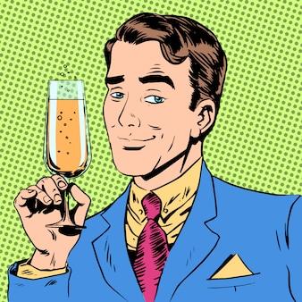 Homem com uma taça de champanhe data brinde de férias