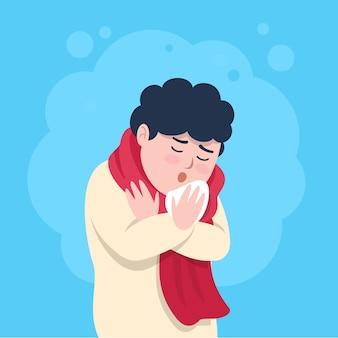 Homem com uma tosse fria